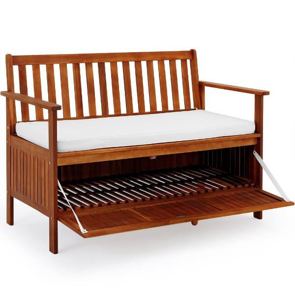 Holzgartenbank mit aufklappbarer Schublade