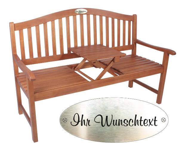 Produktfoto einer Holz-Gartenbank mit einer möglichen Wunschgravur bei Bestellung