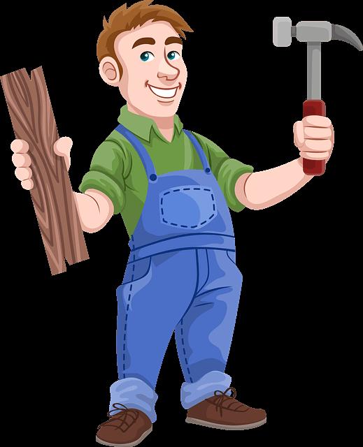 Animationsbild eines Handwerkers mit Holz und Hammer in der Hand