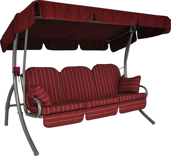 Produktfoto einer roten Hollywoodschaukel mit Dach