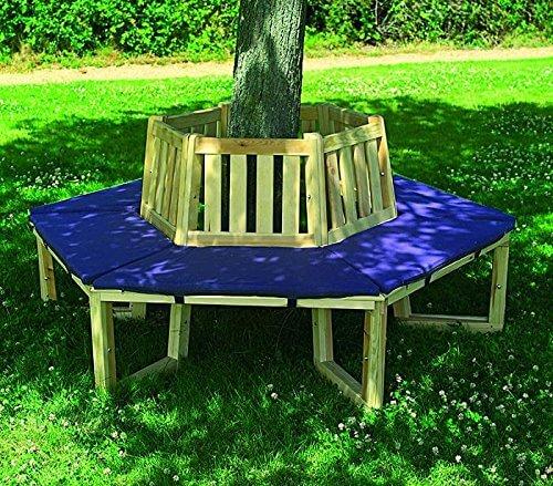 Runde Baumbank aus Holz mit Sitzauflagen