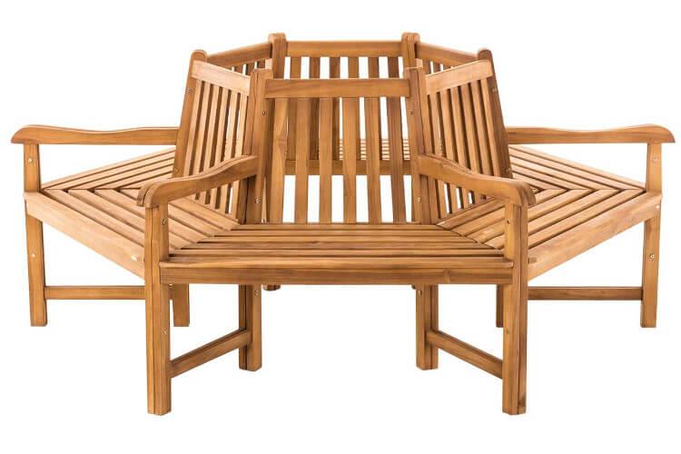 Produktfoto einer runden Baumbank mit Arm- und Rückenlehne