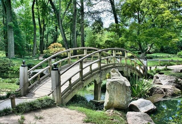 Brücke über einen Fluss im Park