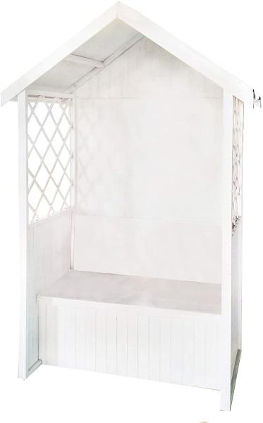 Dynamic24 weiße Gartenbank mit Dach