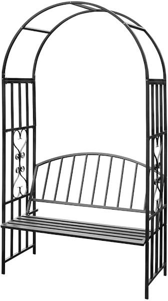 Schwarzer Rosenbogen mit Sitzbank aus Metall