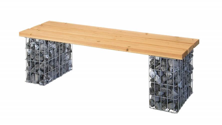 Gabionenbank mit Sitzfläche aus Massivholz