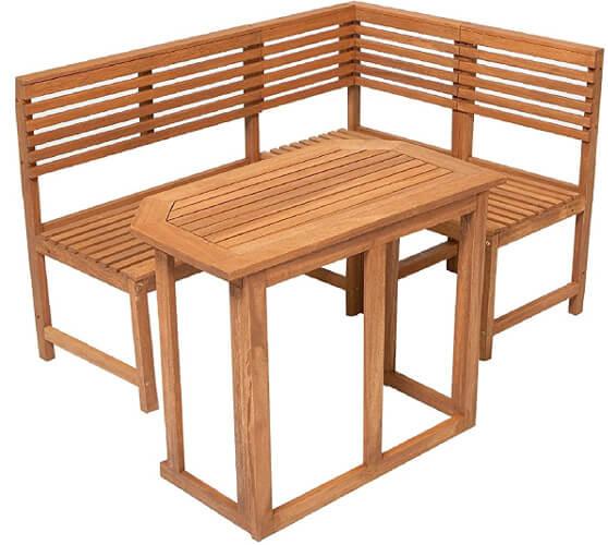 Garten-Eckbankset aus Holz mit Tisch